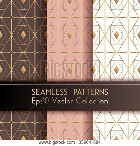 Art Deco Geometric Seamless Patterns Set Vector Design With Rhombus Shapes And Thin Gold Lines Grid.