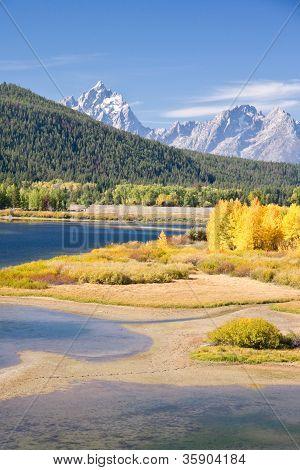 Grand Teton Mountain In Autumn