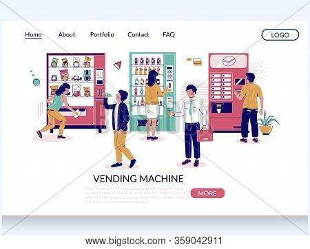 Vending Machine Vector Website Landing Page Design Template