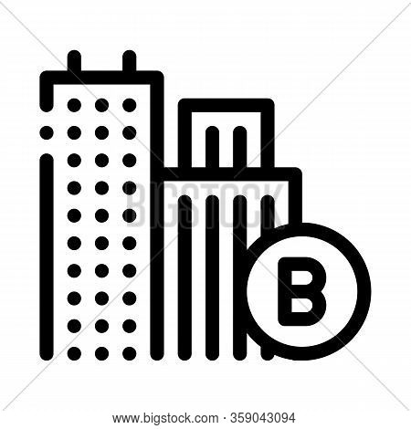 Built Residential Buildings Icon Vector. Built Residential Buildings Sign. Isolated Contour Symbol I