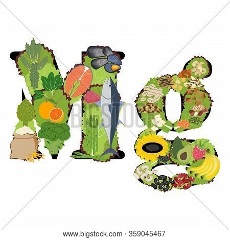 Magnesium Mg Mineral Healthy Organic Nutrition Vector Illustration