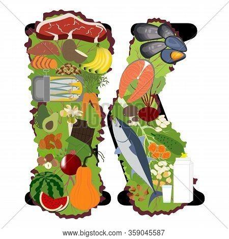Potassium K Mineral Healthy Organic Nutrition Vector Illustration