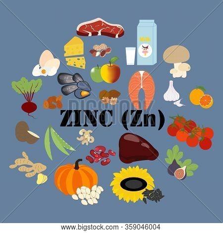 Zinc Zn Microelement Mineral Vitamin Vector Illustration