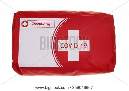 First Aid Kit Isolated On White Background.first Aid For Coronavirus.red First-aid Kit Mock Up Blank
