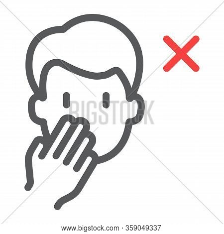 Don't Touch Face Line Icon, Coronavirus And Microorganism, Covid 19 Sign, Vector Graphics, A Linear