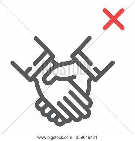 Don't Handshake Line Icon, Coronavirus And Microorganism, Contagion Handshake Sign, Vector Graphics,