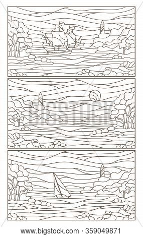 Set Contour Illustrations Of Stained Glass Seascapes,sailing Ship And The Lighthouse In Rocky Bay On