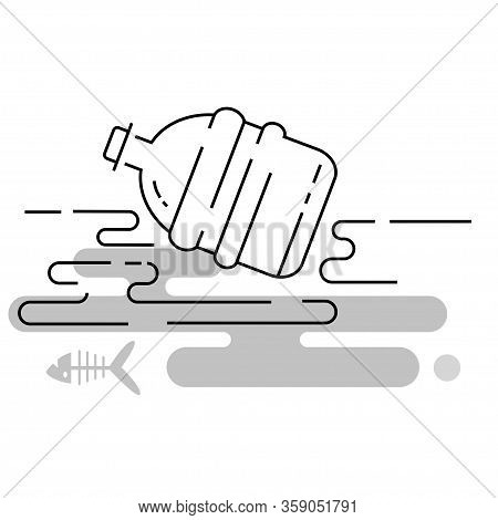 Environmental Pollution By Plastic Bottles. Vector Illustration