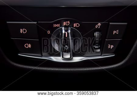 Close-up Of Headlights Control Unit With Buttons For Controlling Headlights, Fog Lamps, Parking Ligh
