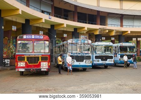 Anuradhapura, Sri Lanka - February 07, 2020: Suburban Buses At The Building Of The New Bus Station