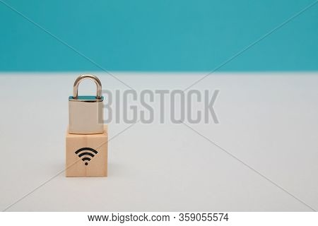 Internet Security. Data Safety. Wireless Internet Safeguard. Network Under Guard. Wooden Cube, Lock