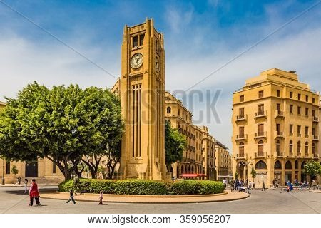 Beirut,Lebanon- April 30 ,2017 : Nijmeh Square downtown in Beirut capital city of Lebanon Middle east