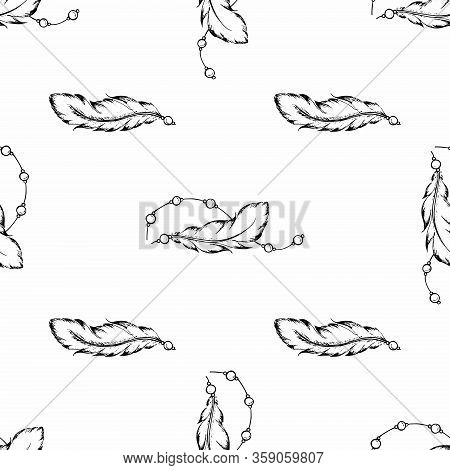 Seamless Pattern Of Feathers In Random Order. Hand Drawn Bird Plumes For Banner Design, Scrapbooking