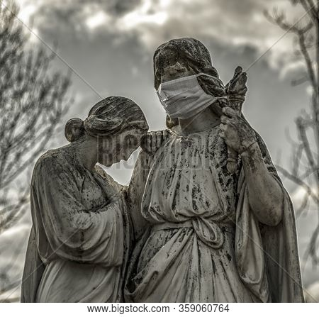 Jesus Christ With Face Mask. Catholic Church Coronavirus Covid-19 Concept