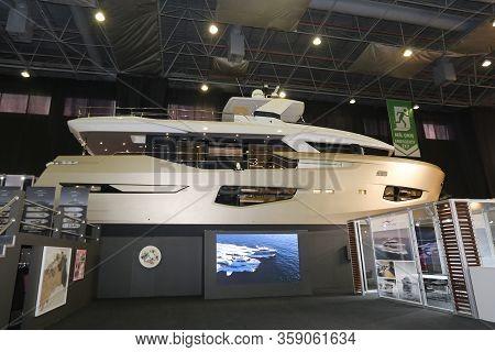 Istanbul, Turkey - February 22, 2020: Numarine 26 Xp Boat On Display At Cnr Eurasia Boat Show In Cnr
