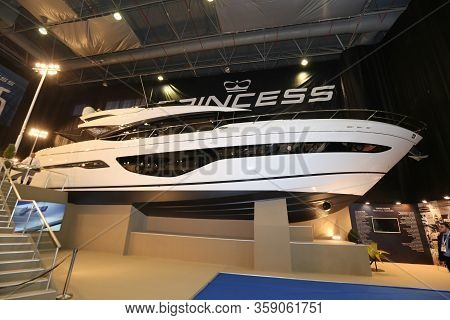 Istanbul, Turkey - February 22, 2020: Princess Boat On Display At Cnr Eurasia Boat Show In Cnr Expo