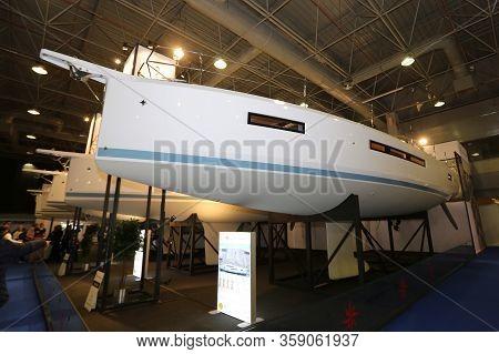 Istanbul, Turkey - February 22, 2020: Jeanneau Sun Odyssey 490 Yacht On Display At Cnr Eurasia Boat