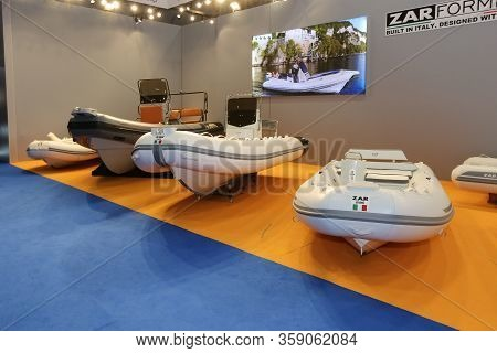 Istanbul, Turkey - February 22, 2020: Zar Inflatable Boats On Display At Cnr Eurasia Boat Show In Cn
