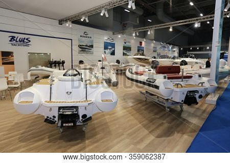 Istanbul, Turkey - February 22, 2020: Inflatable Boats On Display At Cnr Eurasia Boat Show In Cnr Ex
