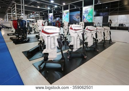 Istanbul, Turkey - February 22, 2020: Evinrude Engines On Display At Cnr Eurasia Boat Show In Cnr Ex