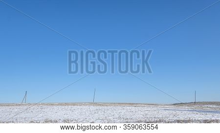 Banner Of Nature Background With Copyspace. Wallpaper Pattern. Winter Park With Snow Field, Power Po