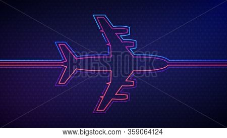 Airplane Background. Vector Illustration Of Glowing Neon Colored Airplane Silhouette Over Blue And P
