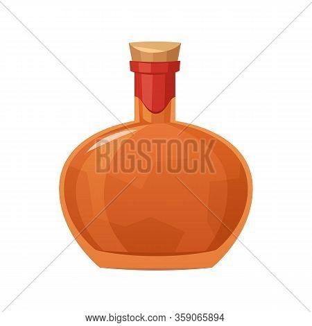 Glass Bottle Of Cognac On White Background Vector