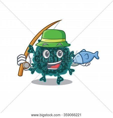 Cartoon Design Concept Of Herdecovirus While Fishing