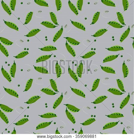 Seamless Pattern: Green Pea Pods And Peas On A Gray Background.