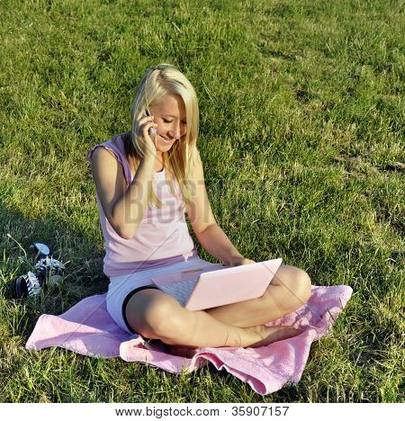 Girl With Pink Netbook