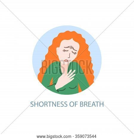 Shortness Of Breath - Symptom Of Coronavirus, Hand Drawing Icon, Sick Girl With Red Hair Tries To Br