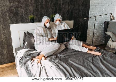 Remote Work During Quarantine, Coronavirus Epidemic. Dangerous Virus, People In Quarantine. The Coup