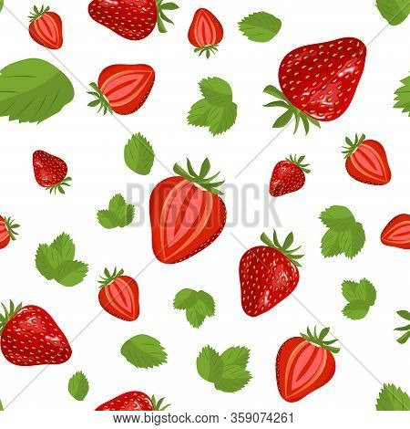 Strawberry Fruit Seamless Pattern. Strawberry Vector Background Illustration