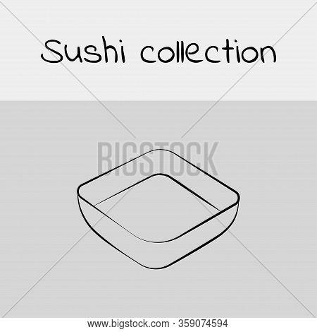 Sushi Collection. Soy Sauce, Teriyaki Sauce, Sweet Chili Sauce, Sriracha Sauce. Line Drawing, Icon.