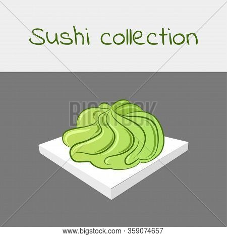 Sushi Collection. Wasabi. Multicolored Art Without A Stroke. Vector.