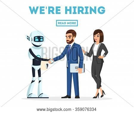 Bearded Businessman And Businesswoman Meet A New Colleague, Anthropomorphous Machine, Artificial Int