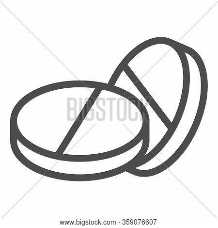 Placebo Pills Line Icon. Two Rounded Medicine Drug Symbol, Outline Style Pictogram On White Backgrou