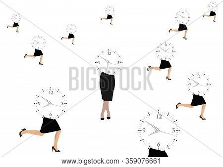 Woman Running With Business Appointment Timetable Woman Running With Business Appointment Timetable