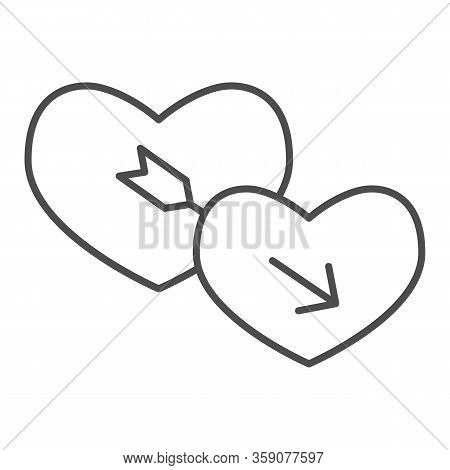 Lovers Hearts Thin Line Icon. Amour Shape Of Heart And Cupids With Arrow Symbol, Outline Style Picto