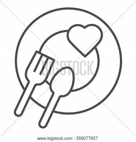 Romantic Dinner Dish Thin Line Icon. Heart On Plate With Fork And Spoon Symbol, Outline Style Pictog