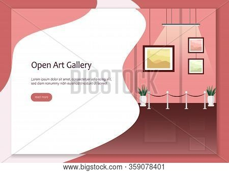 Art Gallery Open Website Banner. Man Woman Drink Wine Vector Illustration. Sell Contemporary Abstrac