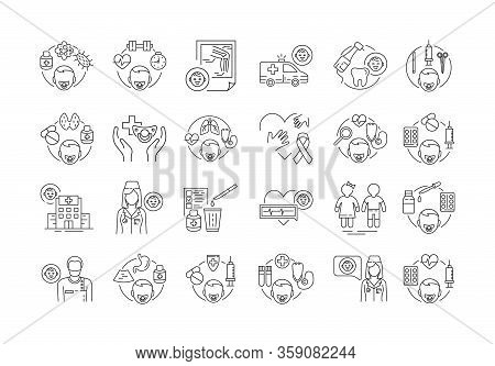 Pediatrics Black Line Icons Set. Medical Health Care Sign. Childcare Concept. Pictogram For Web Page