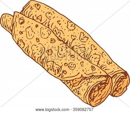 Pancake Rolls. The Colorful Doodle Cartoon Isolated Element. Shrovetide Holiday. Hand Drawn Sketch.