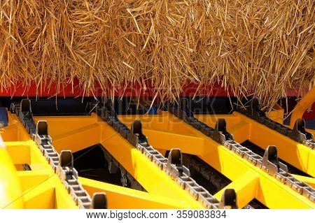 Automatic Hay Collection, Closeup. Hay For Cows, Horses, Goats And Sheep. Аgricultural, Harvest And
