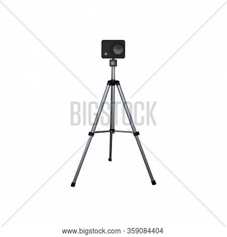 Action Camera On A Tripod. Vector Illustration. Equipment For 4k Video.