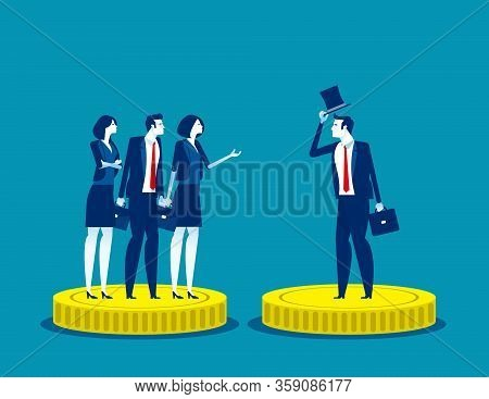 Rich And Poor Injustice. Concept Business Subdivision People Vector Illustration, Alertness, Financi