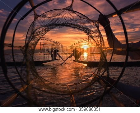 Intha Fisherman Against Beautiful Sunset Sky Inle Lake Myanmar