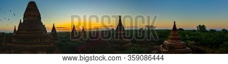 Bagan Burma Panoramic Shot Of Pagodas And Hot Air Ballons At Sunrise