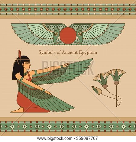 Symbols Of Ancient Egypt With An Illustration Of A Woman With Wings, Lotus, Horizontal Seamless Patt