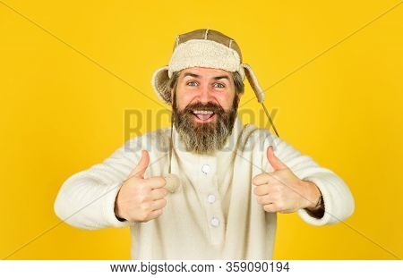 Bearded Hipster. Winter Fashion Concept. Warm Hat For Cold Weather. Natural Sheep Fur. Waiting For W